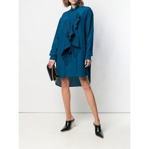 Givenchy pleated silk scarf shirt dress